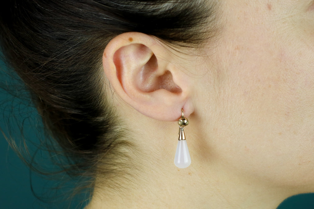 Antique White Chalcedony Drop Earrings