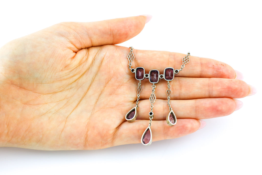 Art Nouveau Amethyst and Pearl Drop Necklace