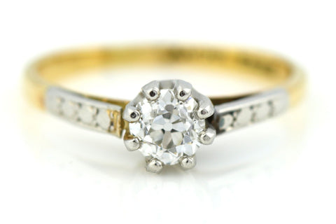 Stunning 18ct Gold & Platinum Art Deco Diamond Ring (0.40ct ) - Circa 1920