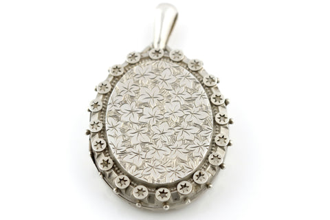 Large Victorian Aesthetic Silver Locket- Circa 1882