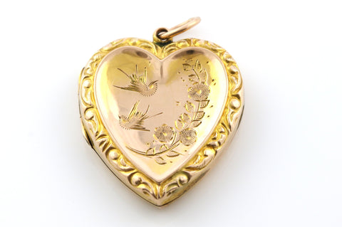 Romantic 9ct Gold Edwardian Heart Locket - Circa 1905