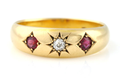 Antique 18ct Gold Ruby & Diamond Gypsy Ring- Circa 1895