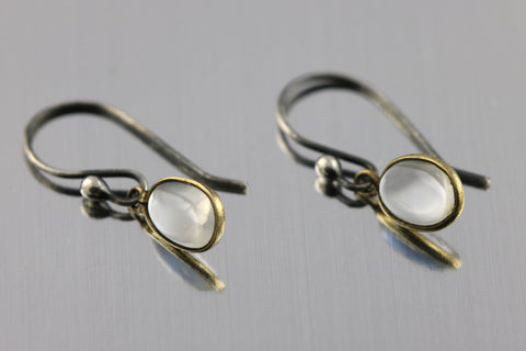 Gorgeous Edwardian Silver Moonstone Drop Earrings - Circa 1905