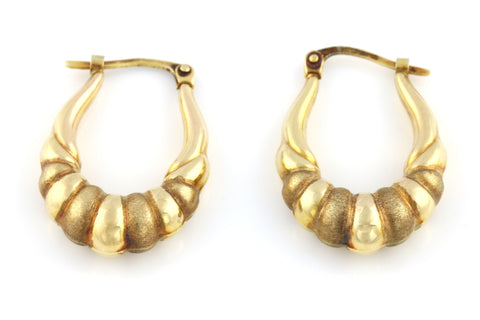 Textured 9ct Gold Creole Hoop Earrings - Circa 1990