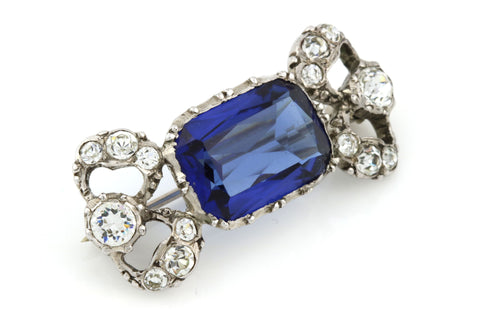 Edwardian Blue Paste Brooch on Sterling Silver - French, Circa 1900