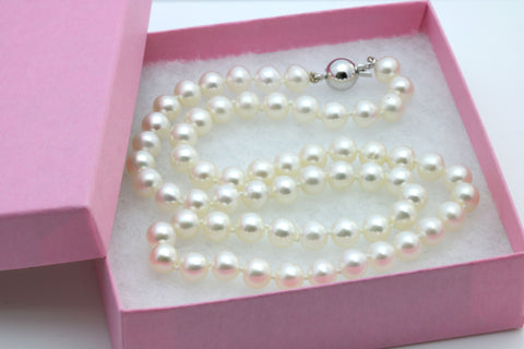 "18"" Pearl Strand Necklace - 18ct White Gold Clasp - 6mm Cultured Pearls"