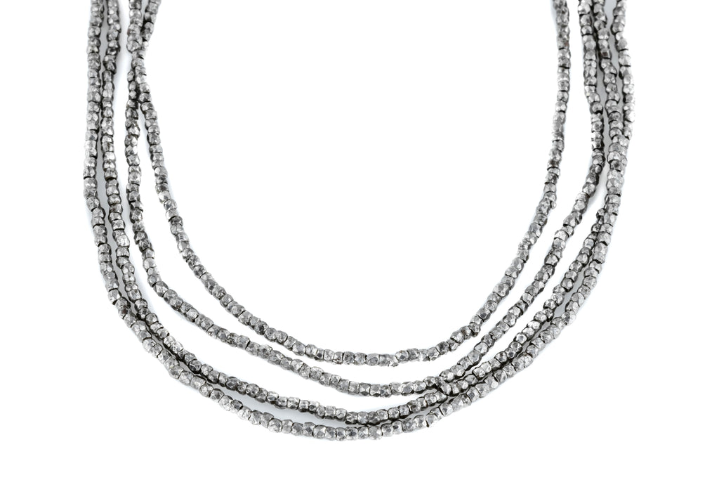 Long Georgian Cut Steel Bead Necklace, 50""