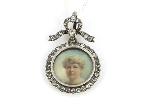 Edwardian Paste & Sterling Silver Locket with Charming Miniature Portrait, (with Chain) - Circa 1905