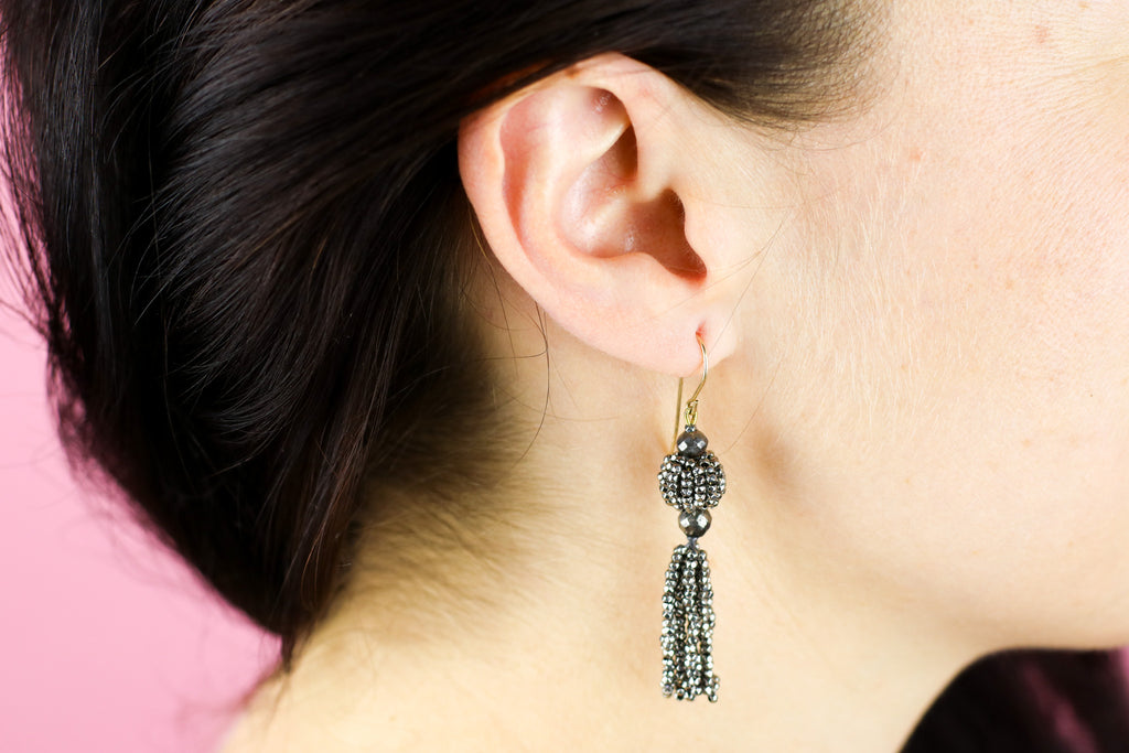 Superb Georgian Cut Steel Tassel Earrings c.1800