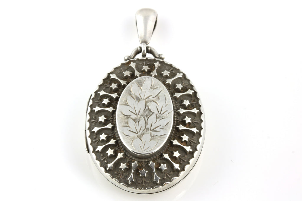 Superb Victorian Aesthetic Silver Locket with Star Motif c1884