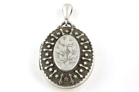 Superb Victorian Aesthetic Silver Locket with Star Motif - Circa 1884