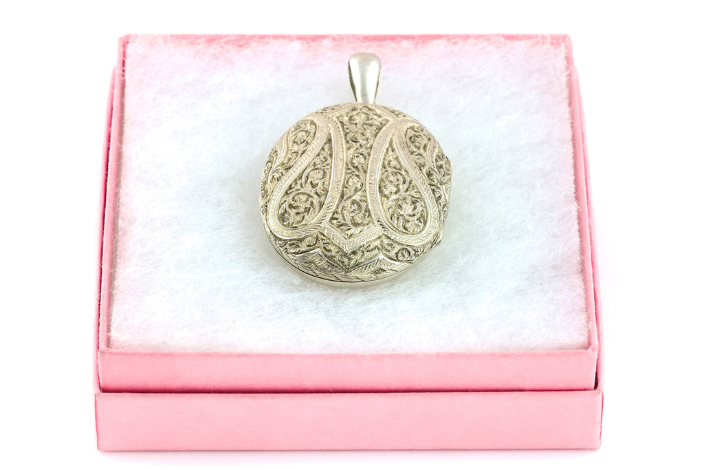 Antique Silver Locket with Paisley Pattern