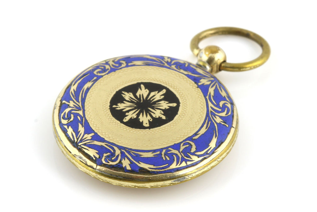 9ct Gold Enamel Victorian Mourning Pendant - Circa 1850