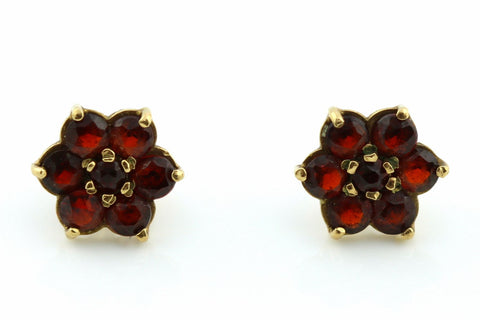 Sweet 9ct Gold Garnet Cluster Earrings - c.1981