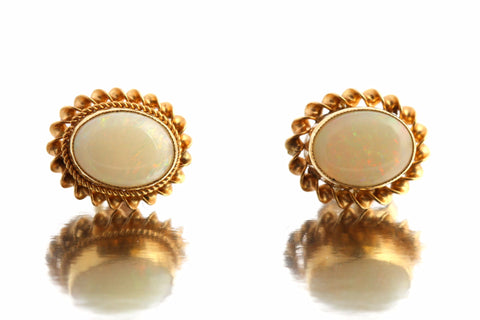 Cute 9ct Gold Retro Opal Studs - c.1992