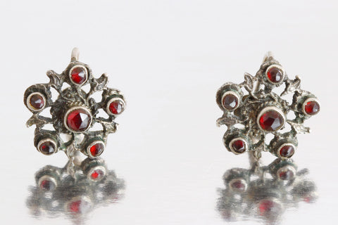 Rare Austro-Hungarian Silver & Garnet Earrings - c.1880