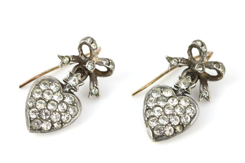 Antique Paste Sweetheart Drop Earrings - c1850