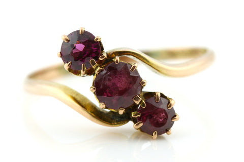 Charming Antique 9ct Rose Gold Garnet Trilogy Ring - c1900