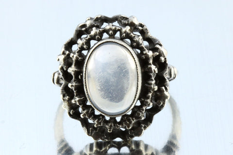 Beautiful Arts and Crafts Movement Antique Silver Moonstone Ring - c.1910