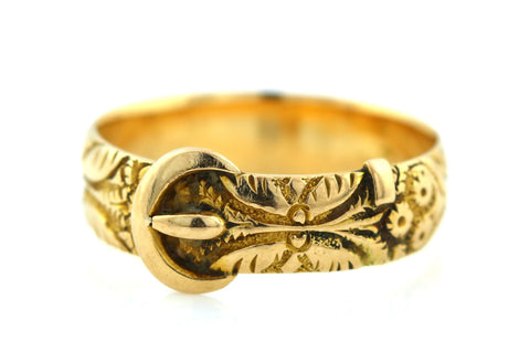 Antique 18ct Yellow Gold  Victorian Buckle Ring - c.1886