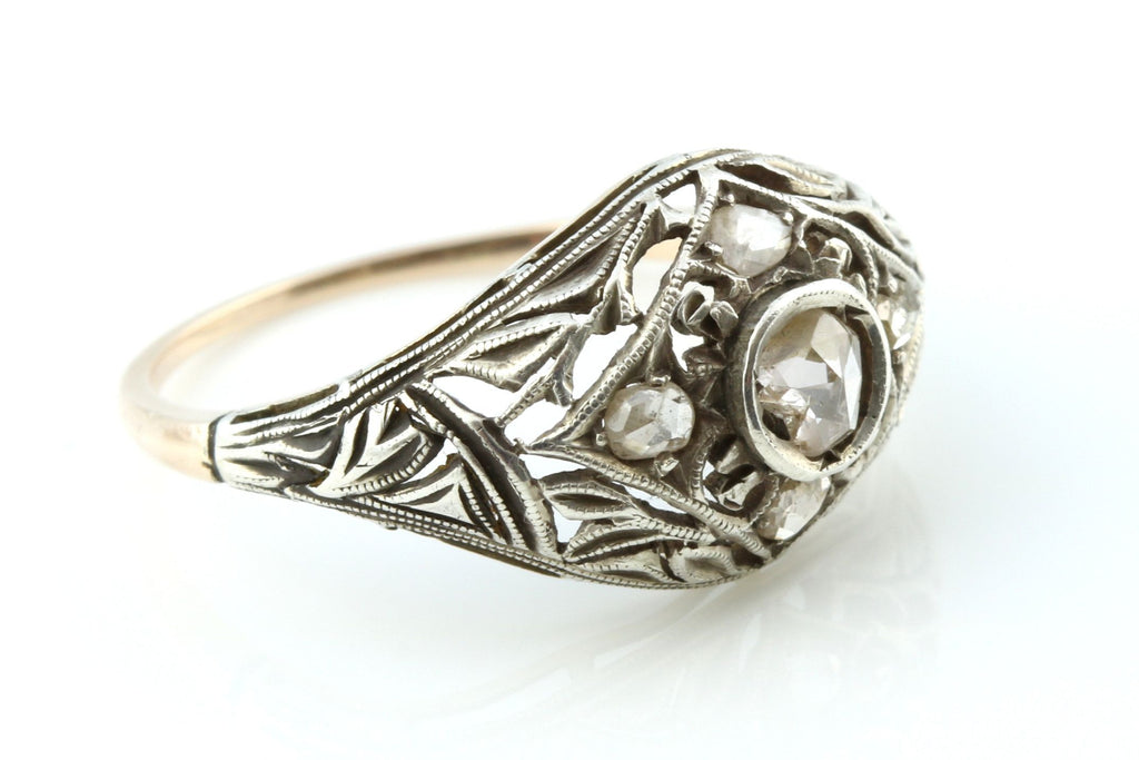 Fine Victorian Filigree Rose Cut Diamond Dress Ring - c.1890