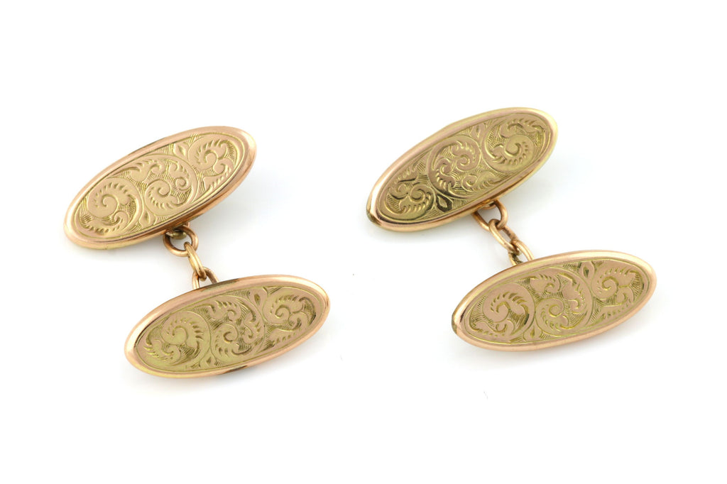 Art Deco 9ct Gold Floral Engraved Cufflinks c.1939