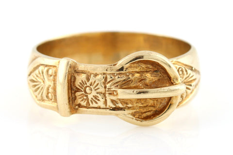Unisex 9ct Yellow Gold Victorian Buckle Motif Ring - c1840