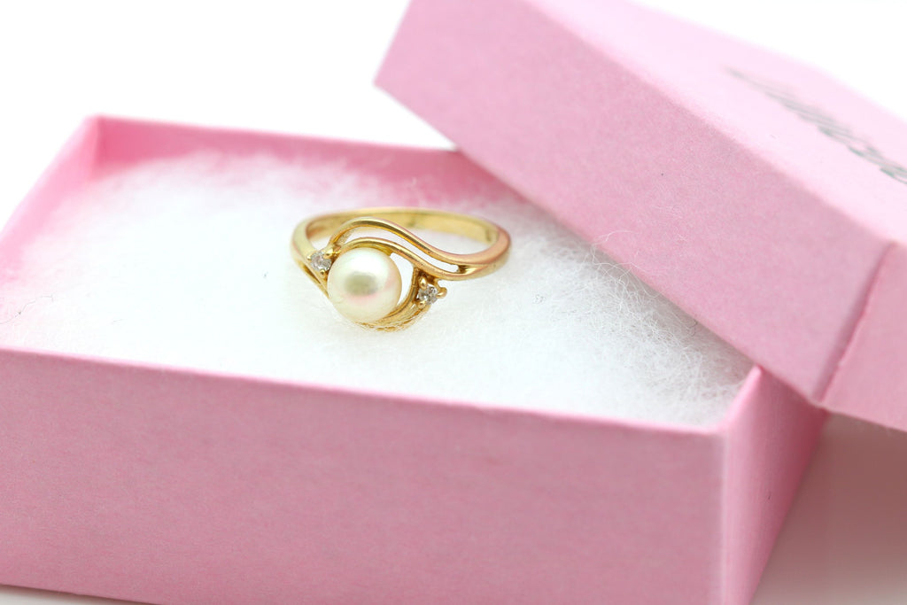 Vintage 14ct Gold Diamond Pearl Dress Ring