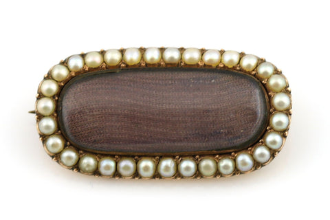 Beautiful Mid-Victorian 9ct Gold Pearl Mourning Brooch - Circa 1860