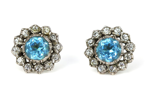 Spectacular Late Georgian Zircon Cluster Earrings - c.1830