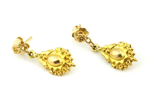 9ct Gold Etruscan Revival Victorian Drop Earrings - c.1850
