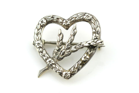 Victorian Silver Sweet Heart Brooch with Lucky Sprig of Heather - c1860