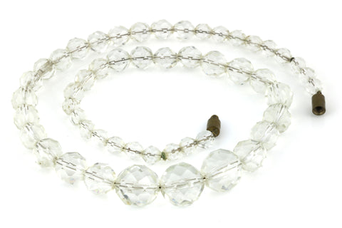 "Vintage 18"" Faceted Glass Necklace - c.1940"