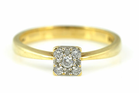 Fine 9ct Gold Cluster 0.15ct Diamond Ring