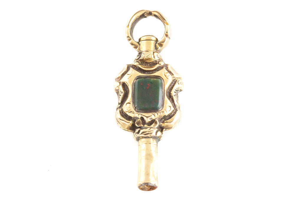 Georgian Gold Watch Key Pendant with Foiled Garnet and Chain