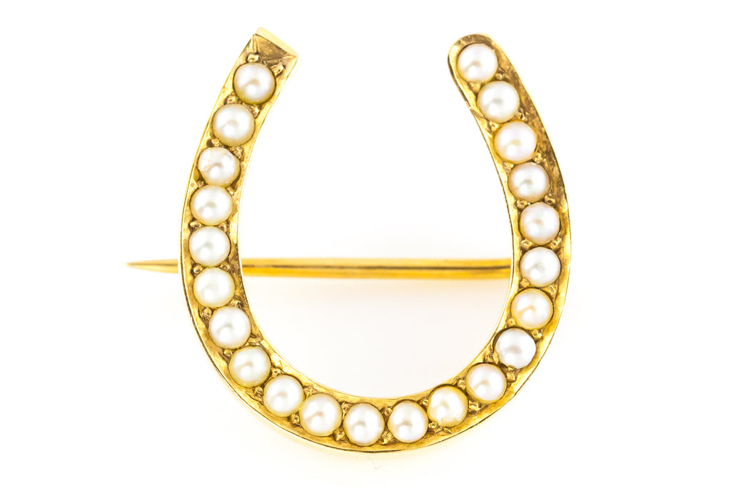 Antique Gold and Pearl Horseshoe Brooch