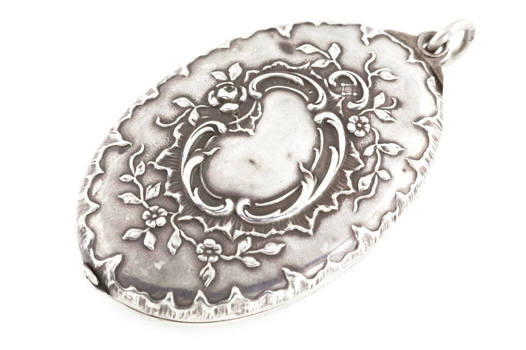 French Art Nouveau Silver Sliding Mirror Pendant c.1890