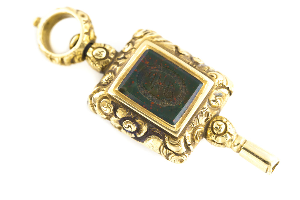 Georgian Watch Key Pendant with Foiled Amethyst and Bloodstone c.1820