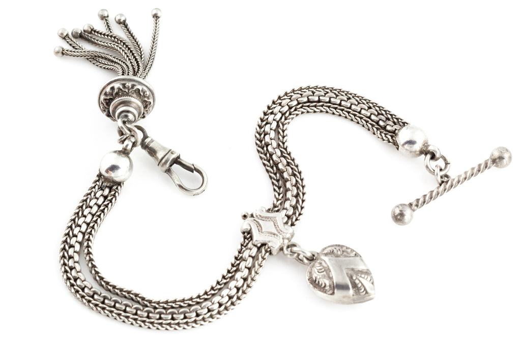 Victorian Silver Albertina Bracelet with Heart and Tassel Charm c.1880