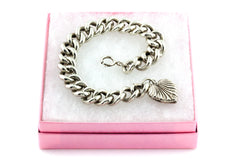Antique Silver Bracelet with Heart Charm