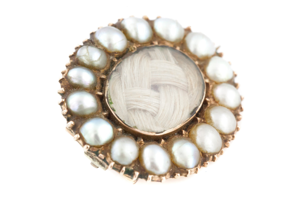 Antique 9ct Gold Georgian Pearl Brooch Pendant, with Chain c.1820