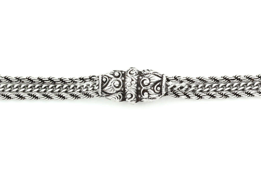 Victorian Silver Albertina Chain Bracelet with Heart Charm c.1890