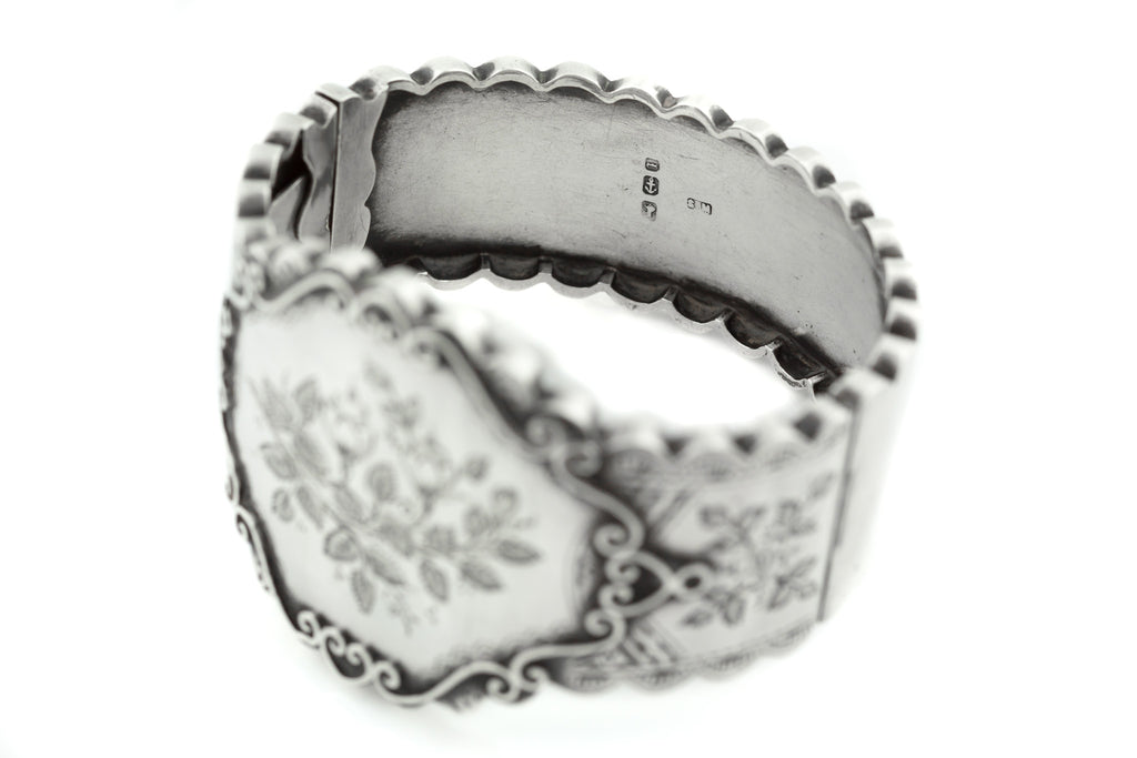 Victorian Aesthetic Movement Silver Cuff Bangle c.1885
