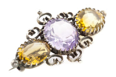 Superb Amethyst and Citrine Trilogy Brooch - Antique Silver Amethyst Brooch