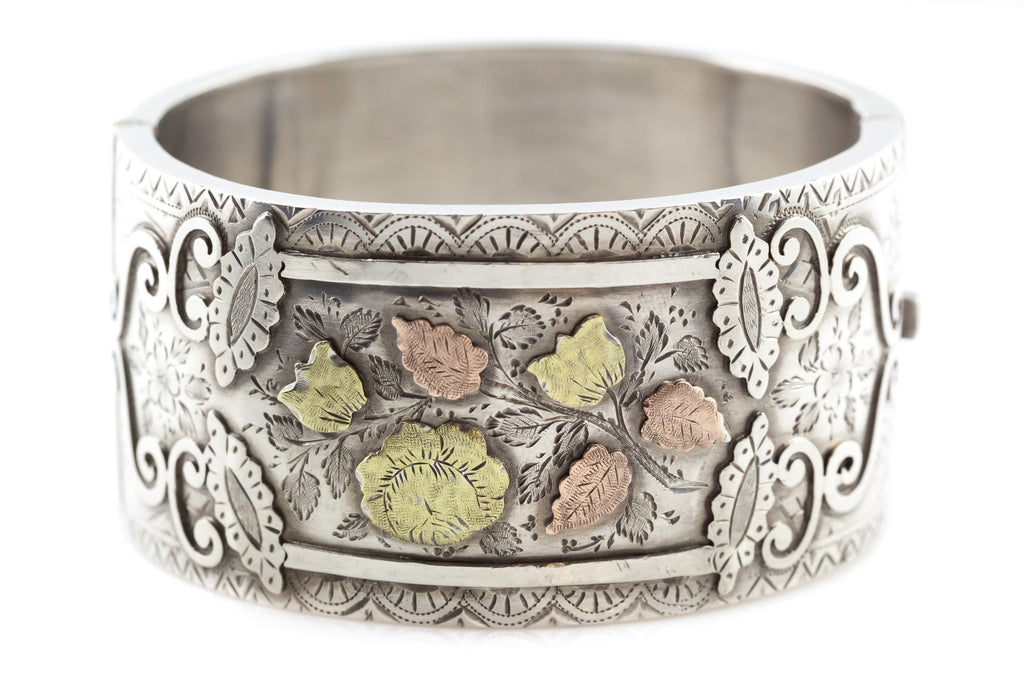 Victorian Aesthetic Cuff Bracelet with Rose and Yellow Gold Leaves c.1884