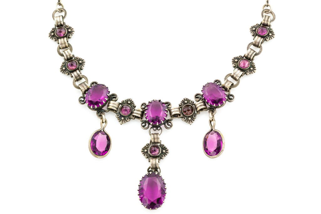 Antique Amethyst Paste Necklace
