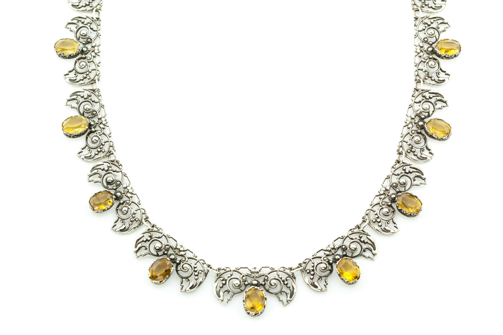Antique Silver Citrine Statement Necklace c.1910