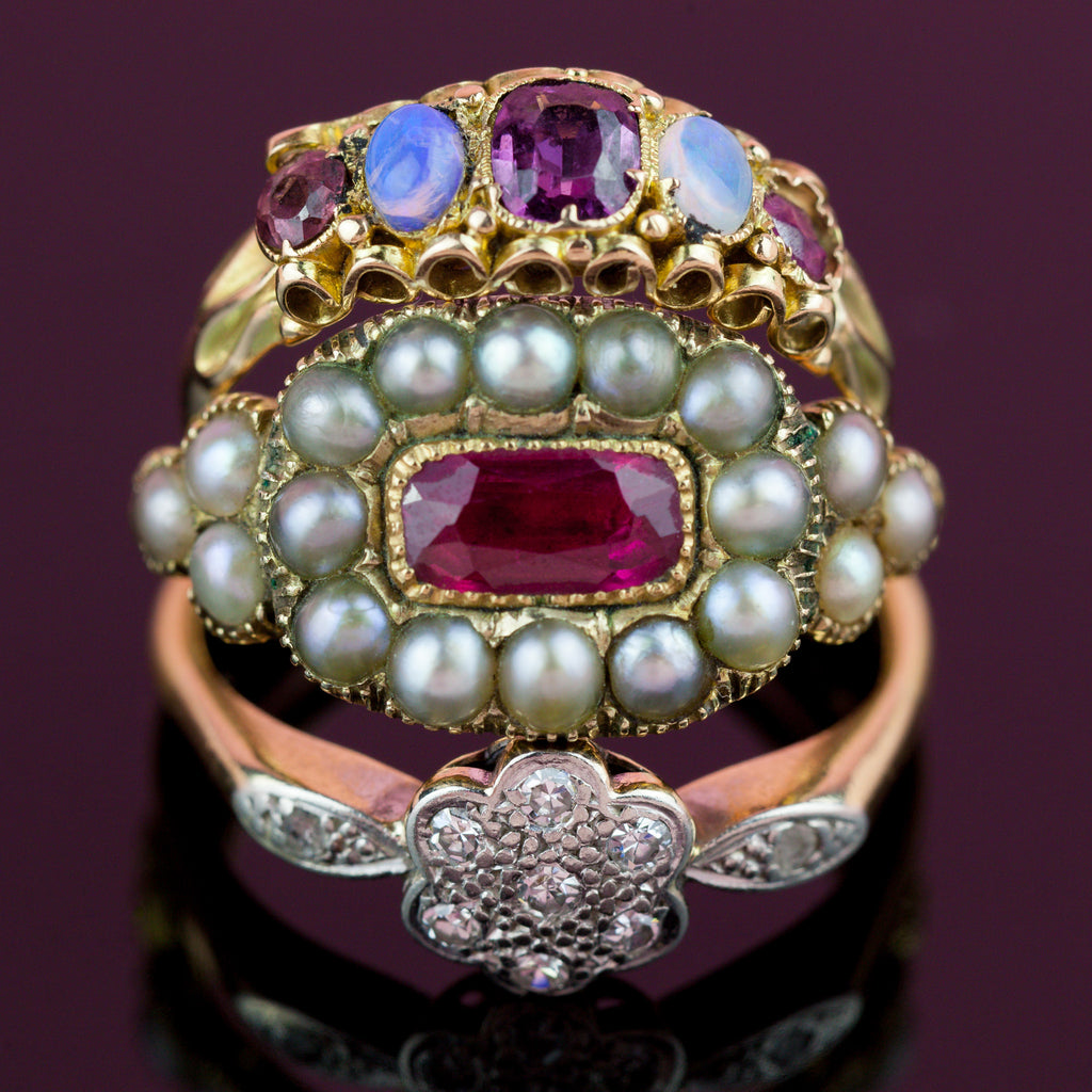 15ct Gold Victorian Garnet and Opal Ring c.1864