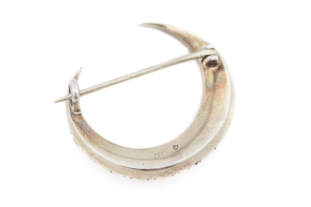 Victorian Crescent Moon Brooch - Antique Paste & Sterling Silver c.1850