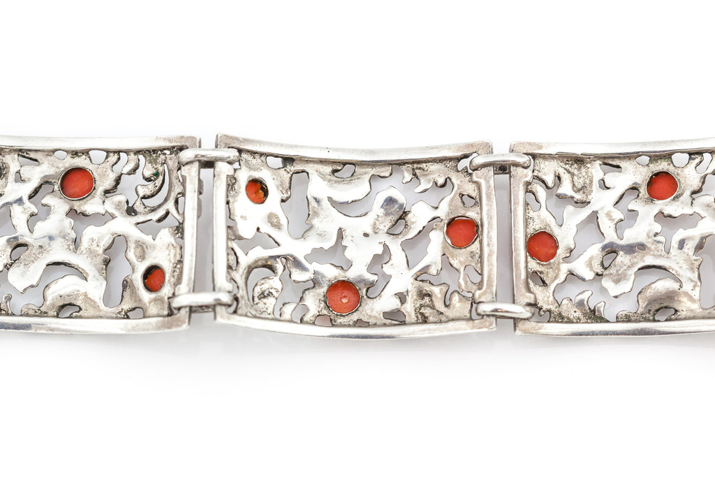 Antique Silver Coral Panel Bracelet c.1930